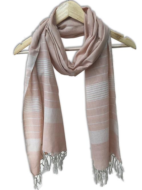 Handwoven Cotton Stole (Pastel Pink Stripes)