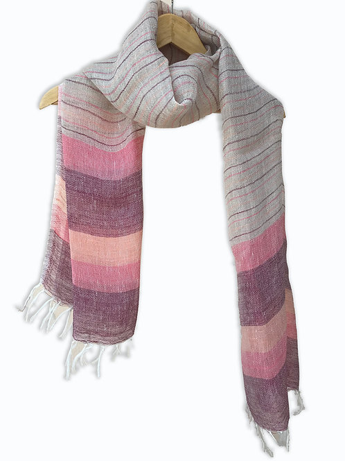 Handwoven Linen Stole (Jamun Stripes)