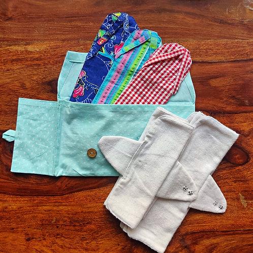 Unmukt Reusable Sanitary Napkins: S/M Kit (6 Pads + 3 Sleeves)