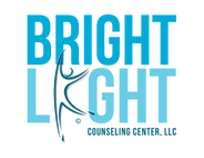 Bright Light Counseling Center Logo in block letters and various shades of blue.