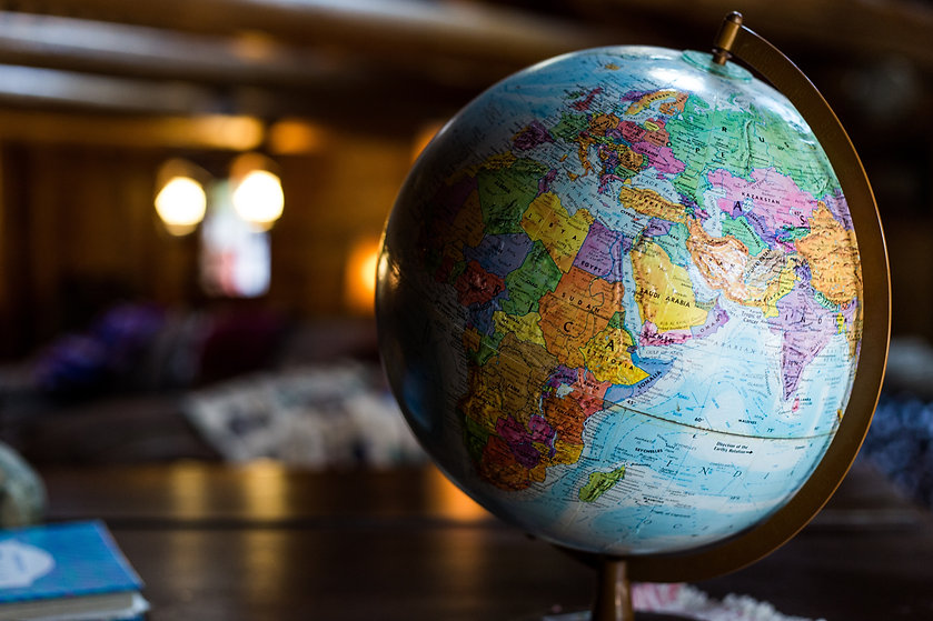 Globe in full color rotated to Africa.