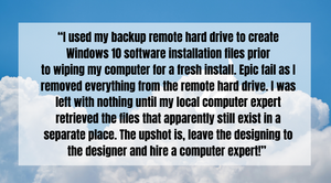 Claire managed to wipe her hard drive
