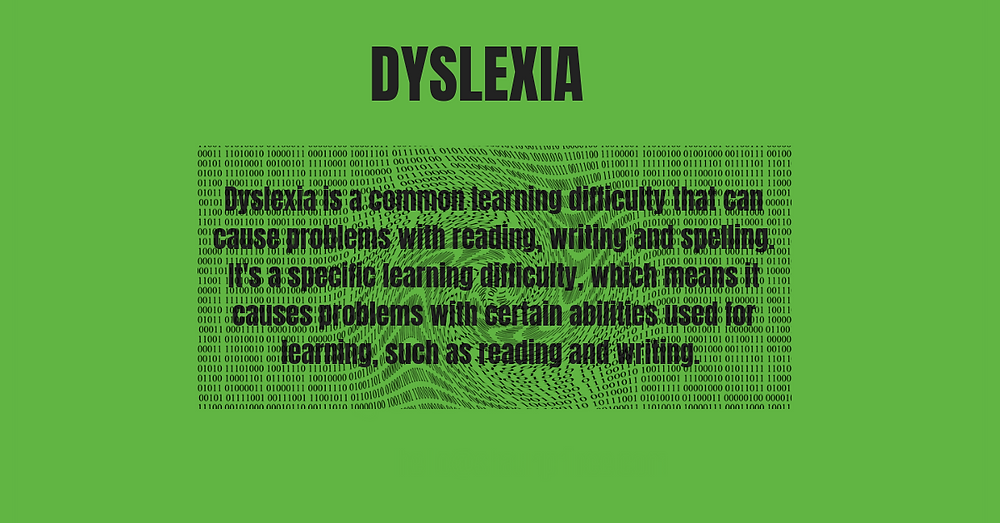 Dyslexia is a common learning difficulty that can cause problems with reading, writing and spelling. It's a specific learning difficulty, which means it causes problems with certain abilities used for learning, such as reading and writing.