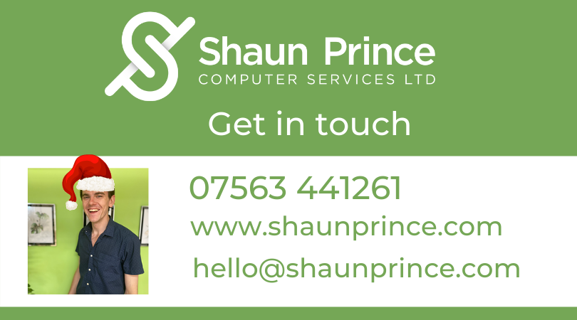 Get in touch, Shaun Prince Computer Services Ltd
