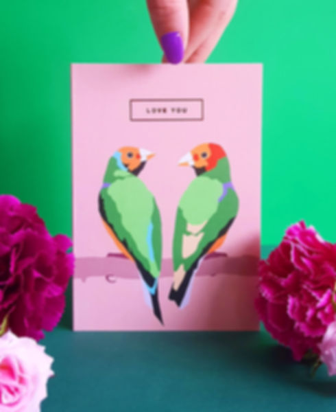 Greetings card pink card love you two lovebirds