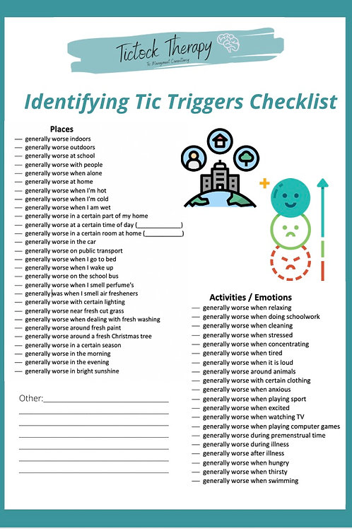 Tic Trigger Checklist