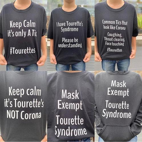Personalised Tourette's Awareness T-shirt - Black T-shirt / White writing