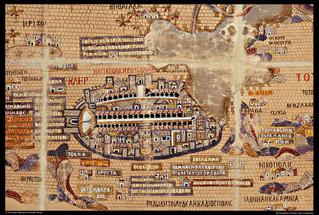 นครเยรูซาเล็มบนแผนที่มาดาบา (Madaba)