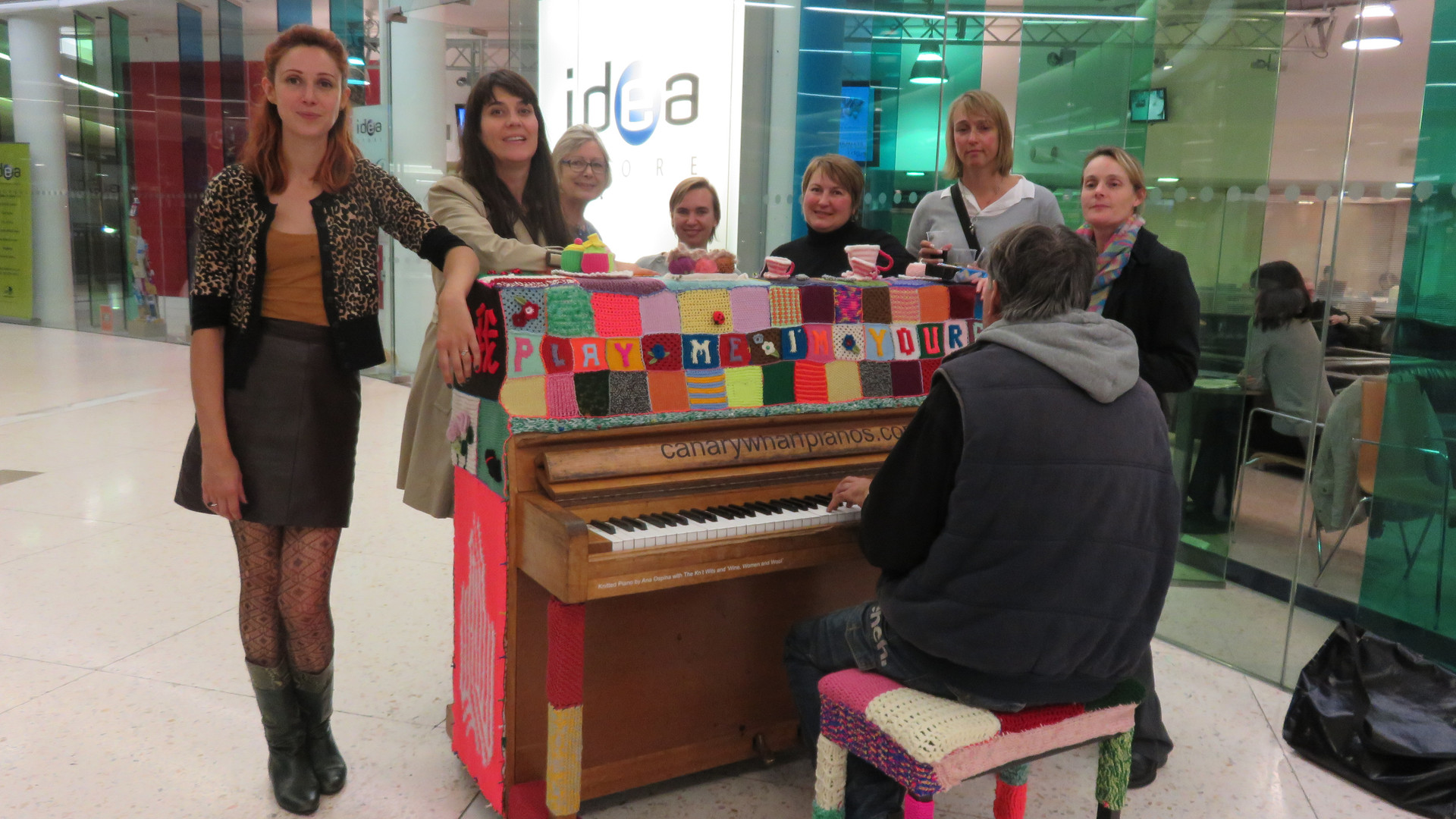 At the launch event for the knitted piano