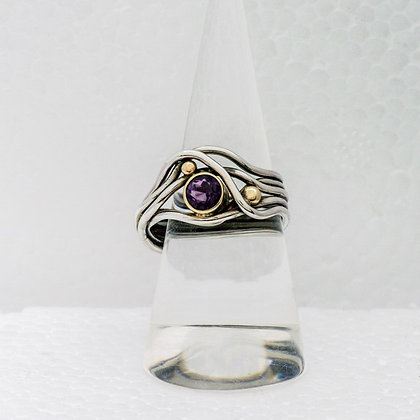 'Amethyst Ring', Sterling Silver with 18ct Gold Beads