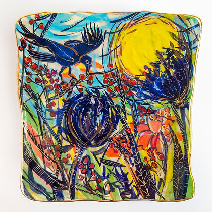 'Harvest Bounty', Square Ceramic Wall Dish with Gold Lustre