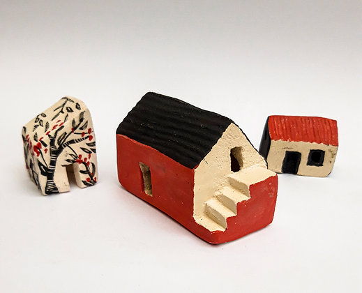 'Caherkirky', Group of 3 of Ceramic Buildings