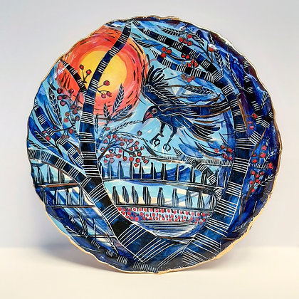 'Harvest Moon with Crow', Large Ceramic Wall Dish with Lustres
