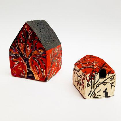 'Teacht na Gaoithe (House of Wind)', Pair of Ceramic Buildings
