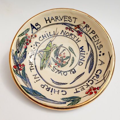 'Harvest Haiku', Ceramic Dish with Gold Lustre