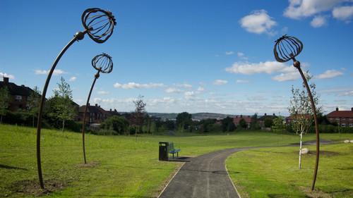 Poppy Head Sculptures, Manor Park