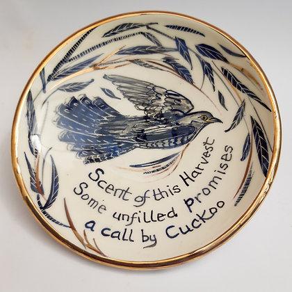 'Cuckoo Haiku', Ceramic Dish with Gold Lustre