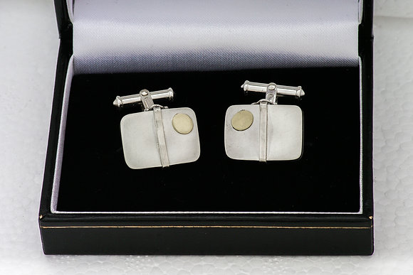 'Suitcase Cufflinks', Sterling Silver with 18ct Gold Decoration