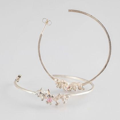 Connemara Coral Silver Hoop Earrings (Large) w Pink Tourmaline