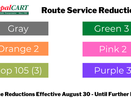 Revised Service Reductions due to Driver Shortages