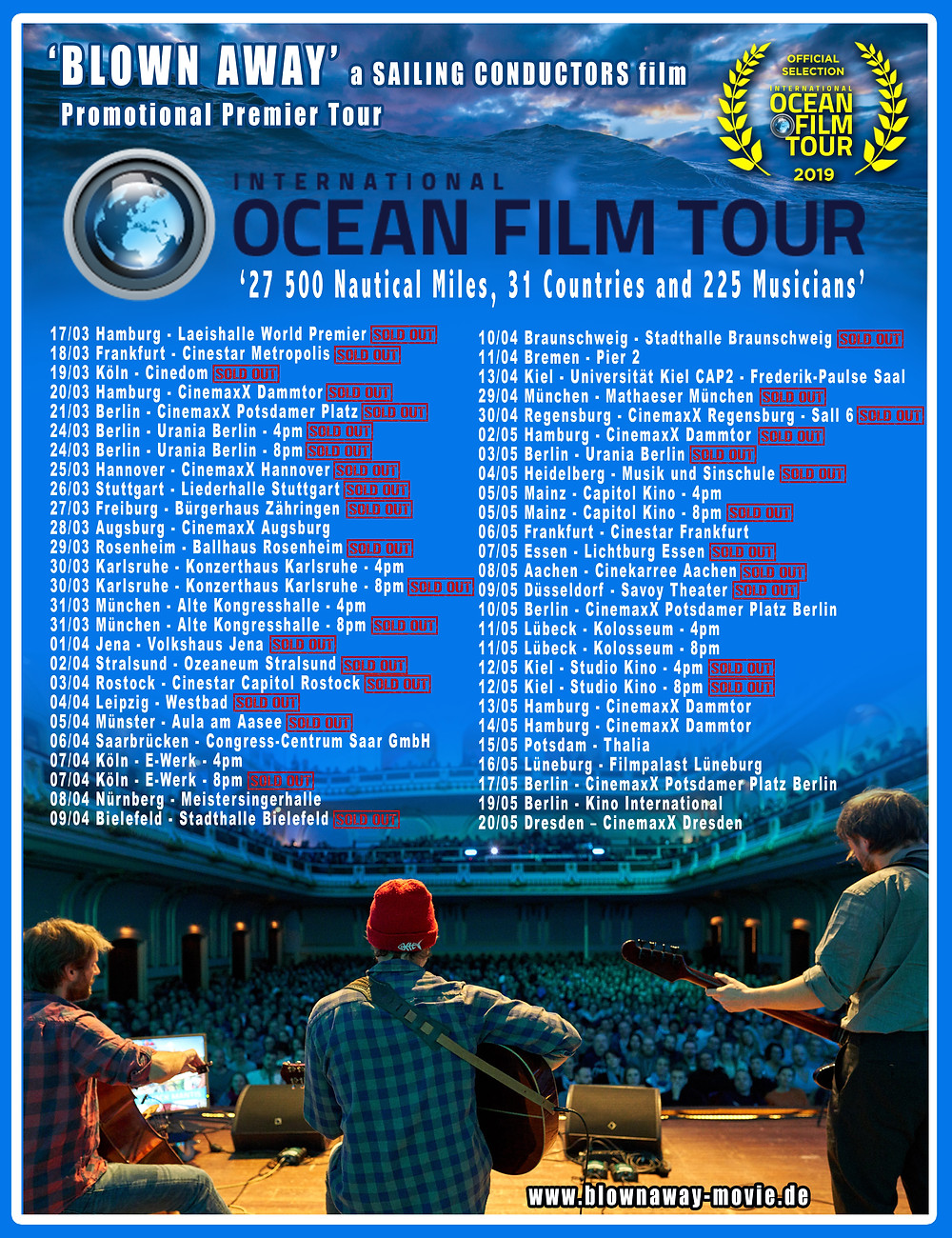 52 shows announced across the German landscape. Tickets @ https://de.oceanfilmtour.com/de/tickets