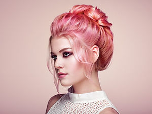 Rose gold, pink and blush tones wih a beautiful upstyle
