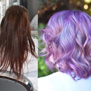 Hair Transformation Colour Change Purple Hair
