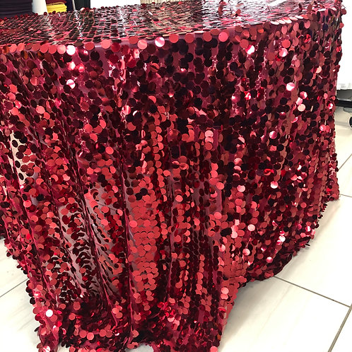 Burgundy Payette Large Sequin  - 8ft banquet table