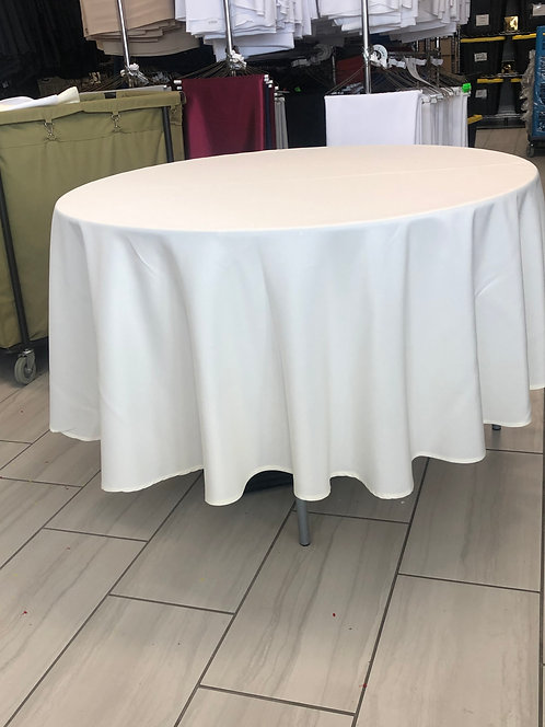 "Ivory Polyester 90"" round"