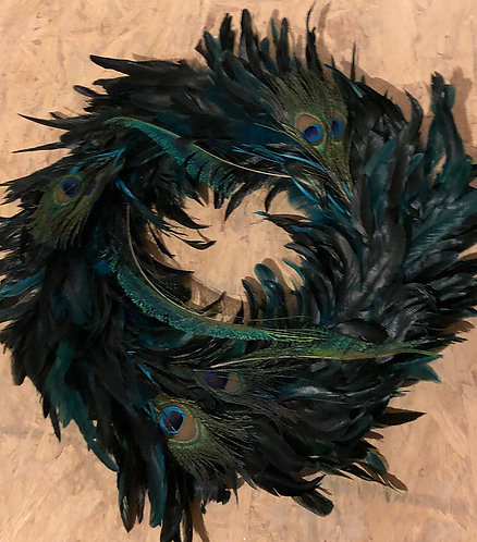 REAL Peacock Feather Wreath