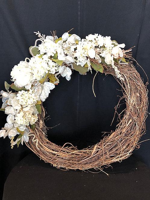 "Grapevine Wreath w/ Flowers  32"" tall"