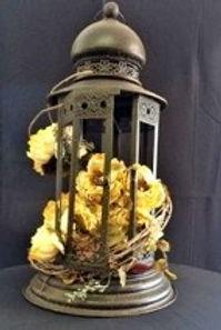 2 ft Tall Brown Lantern w/ flowers