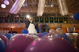wedding with balloons lavendar blue balloons