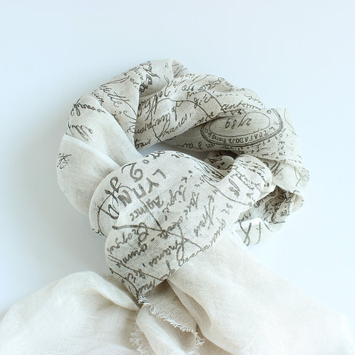 Linen Scarf French Printed Design