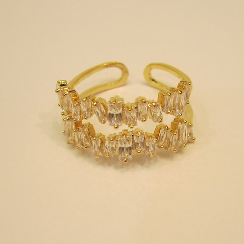 Crystal Encrusted Gold Plated Ring