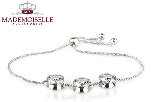 Triple Crystal Button Chain Gold Plated Bracelet