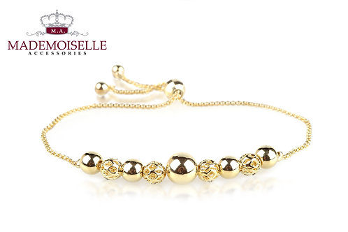 Polished solid and hollowed ball clasp bracelet