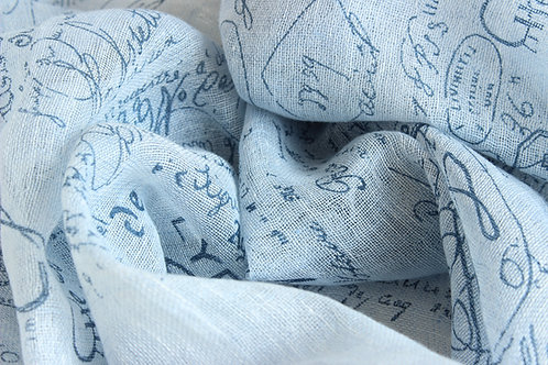 Linen Scarf with french printed design