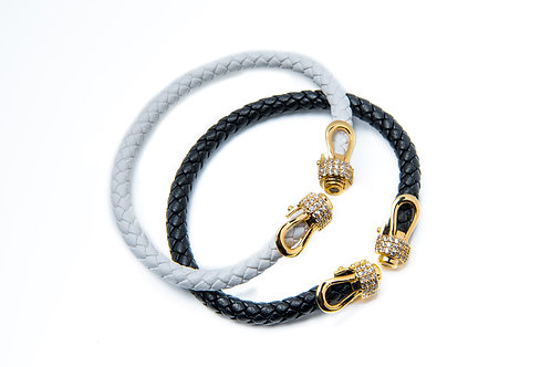 Rope Leather Style Zircon Tipped Open Bangle