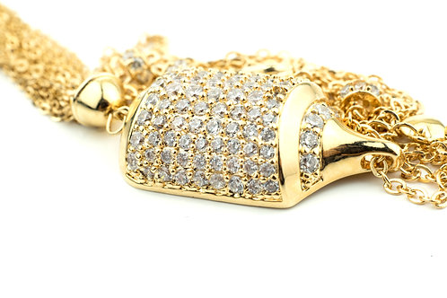 Tassel Style Long Crystallised Necklace