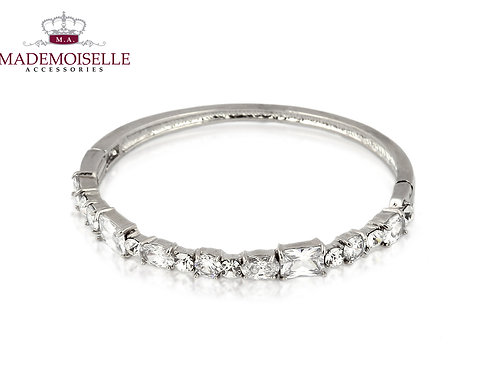 Large Crystal Encrusted Silver, Gold Plated bangle