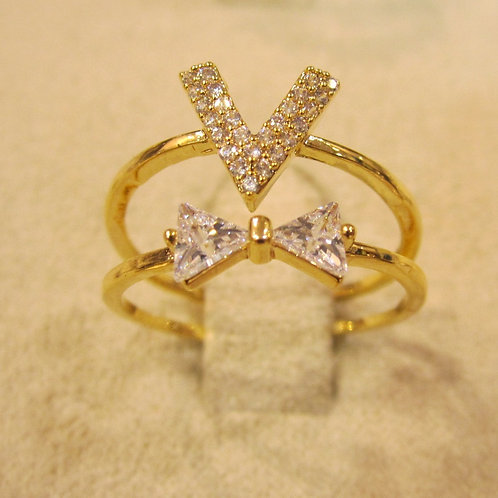 V & Bow Gold Plated Ring