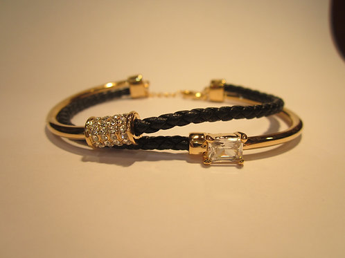 Crystal Encrusted Double Banded Rope Style Bracelet