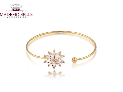 Crystal Encrusted Gold Plated Bangle