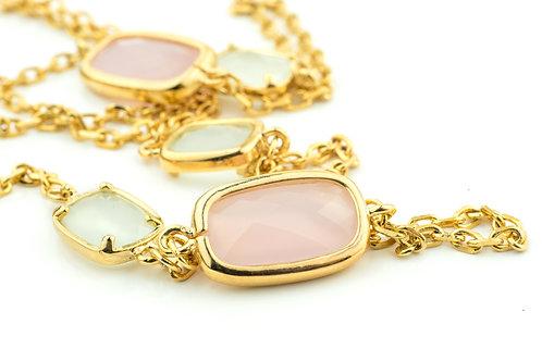 Pink & Pale Grey Pastel Stones Necklace