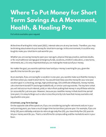 Where to Put Money for Short Term Savings