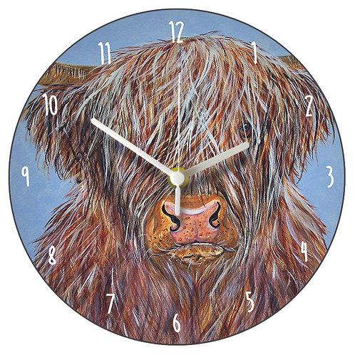 Max Highland Cow Clock