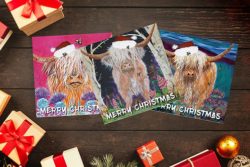 Heather's Highlands Christmas 12 pack cards
