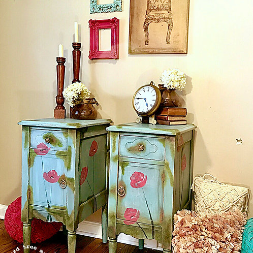 """Bleu Moss"" set of Anthropologie Style Vintage Nightstands"