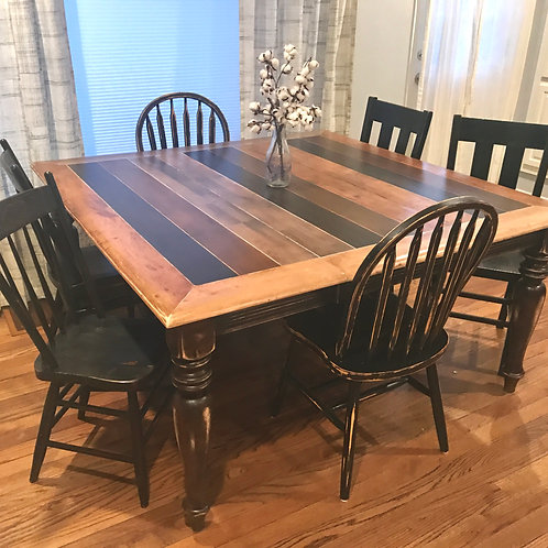 50 Shades of Stain Farmhouse Table and 6 Chairs
